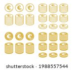 icon set of coins with the euro ... | Shutterstock .eps vector #1988557544