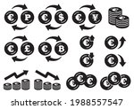 icon set of coins with the euro ... | Shutterstock .eps vector #1988557547