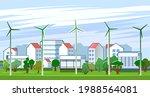 wind power generator. suburban... | Shutterstock .eps vector #1988564081