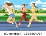 the girls are running. sports... | Shutterstock .eps vector #1988564084