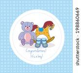 baby shower invitation.... | Shutterstock . vector #198860669