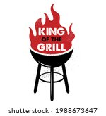 king of the grill. hand drawn... | Shutterstock .eps vector #1988673647