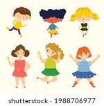 happy little kids collection... | Shutterstock .eps vector #1988706977