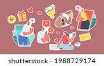 set of stickers online date ... | Shutterstock .eps vector #1988729174