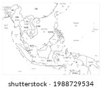 southeast asia map   hand drawn ... | Shutterstock .eps vector #1988729534
