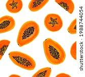 hand draw tropical papaya fruit ... | Shutterstock .eps vector #1988744054