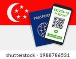 covid 19 passport on singapore... | Shutterstock .eps vector #1988786531