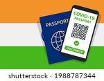 covid 19 passport on india flag ... | Shutterstock .eps vector #1988787344