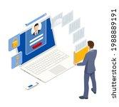 isometric man analyzes the... | Shutterstock .eps vector #1988889191