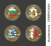 four golden bitcoin icons with... | Shutterstock .eps vector #1988941664