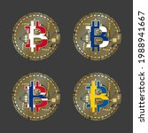 four golden bitcoin icons with... | Shutterstock .eps vector #1988941667