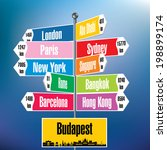 budapest signpost with cities... | Shutterstock .eps vector #198899174