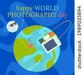 world photography day. happy...   Shutterstock .eps vector #1989035894