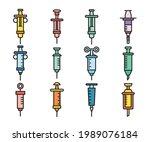 syringe icons set vector...   Shutterstock .eps vector #1989076184