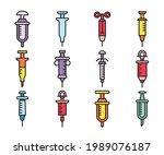 syringe icons set vector...   Shutterstock .eps vector #1989076187