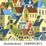roofs of houses. a village or a ... | Shutterstock .eps vector #1989091871