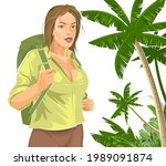 beautiful girl tourist with a... | Shutterstock .eps vector #1989091874