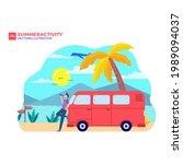 summer vacation surf bus sunset ... | Shutterstock .eps vector #1989094037