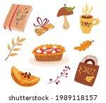 cozy autumn elements. pumpkin...   Shutterstock .eps vector #1989118157