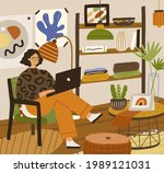 young person using laptop ...   Shutterstock .eps vector #1989121031