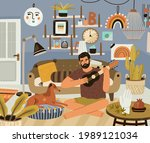 young man playing music on... | Shutterstock .eps vector #1989121034