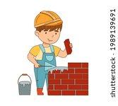 little boy builder wearing hard ...   Shutterstock .eps vector #1989139691