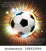shining soccer ball on abstract ... | Shutterstock .eps vector #198913994