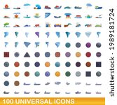 100 universal icons set.... | Shutterstock .eps vector #1989181724