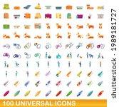 100 universal icons set.... | Shutterstock .eps vector #1989181727