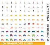 100 transport icons set.... | Shutterstock .eps vector #1989181754