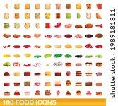 100 Food Icons Set. Cartoon...