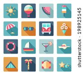 vector set of summer  traveling ... | Shutterstock .eps vector #198925145