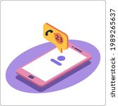 phone mockup and miss call... | Shutterstock .eps vector #1989265637