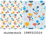 cute hand drawn floral seamless ... | Shutterstock .eps vector #1989315314