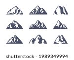 hand drawn mountain isolated. ...   Shutterstock . vector #1989349994
