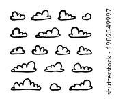 set of funny clouds in line art ...   Shutterstock . vector #1989349997