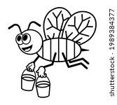 bee holding honey buckets ...   Shutterstock .eps vector #1989384377