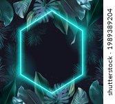 tropical elegant frame arranged ... | Shutterstock .eps vector #1989389204