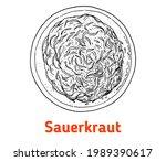 german sauerkraut hand drawn... | Shutterstock .eps vector #1989390617