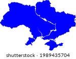 blue colored ukraine map.... | Shutterstock .eps vector #1989435704