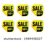 sale yellow stickers icon set.... | Shutterstock .eps vector #1989458327