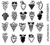 grapes set. collection icons... | Shutterstock .eps vector #1989458894
