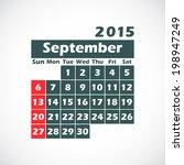 calendar on 2015 year.september....   Shutterstock .eps vector #198947249