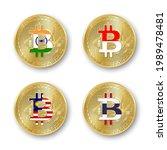 four golden bitcoin coins with... | Shutterstock .eps vector #1989478481