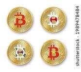 four golden bitcoin coins with... | Shutterstock .eps vector #1989478484