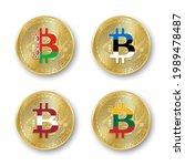 four golden bitcoin coins with... | Shutterstock .eps vector #1989478487