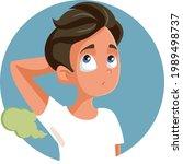 teenage boy sweating having...   Shutterstock .eps vector #1989498737