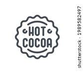 hot cocoa label line icon....