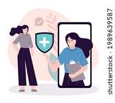 hospital worker on phone screen ... | Shutterstock .eps vector #1989639587