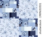 blue vector stock flowers with... | Shutterstock .eps vector #1989653531